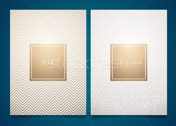 Stock photo: Vector set white packaging templates with different golden linear geometric pattern texture