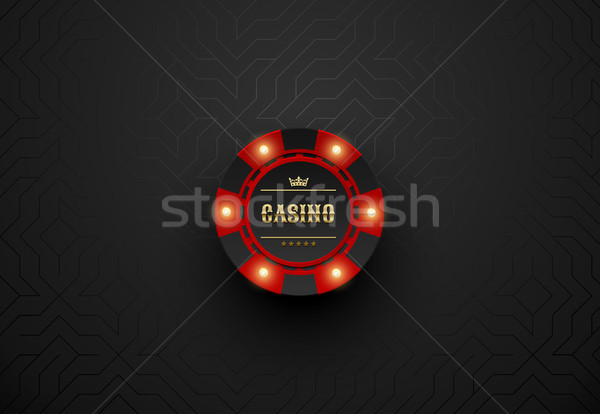 Vector red casino poker chip with luminous light elements. Black silk geometric background Stock photo © Iaroslava