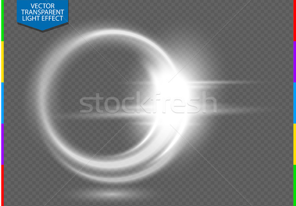 Circular lens flare transparent light effect. Abstract ellipse white luxury shining rotational glow  Stock photo © Iaroslava