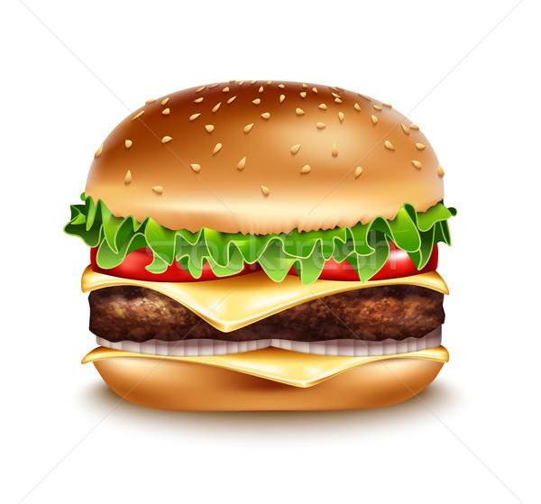 Vector Hamburger icon. Classic Burger American Cheeseburger with Lettuce Tomato Onion Cheese Stock photo © Iaroslava