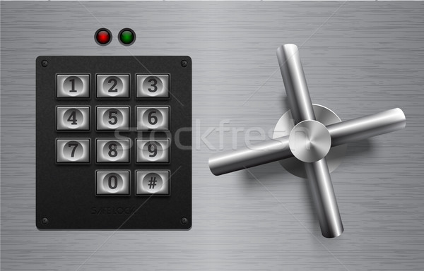 Realistic safe lock metal element on brushed metal background. Stainless steel wheel. Vector icon Stock photo © Iaroslava