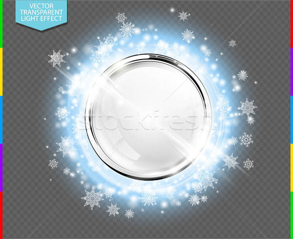Abstract luxury chrome metal ring with white glass ball. Vector light circles, snowflakes and spark  Stock photo © Iaroslava