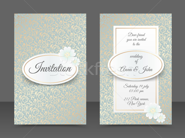 Vintage wedding invitation templates. Cover design with golden leaves ornament, oval, white daisy Stock photo © Iaroslava