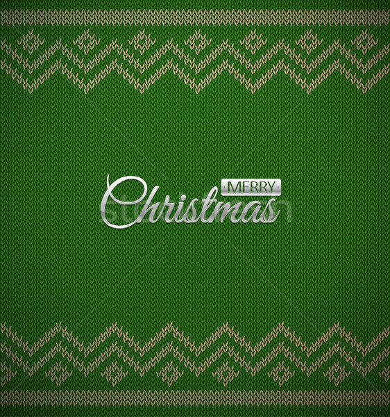 Knit christmas geometric background with metal merry Christmas text. Realistic xmas vector pattern.  Stock photo © Iaroslava