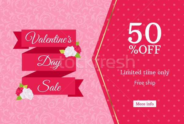 Valentines day sale web banner design template. Pink flat ribbon on floral background. Polka dot Stock photo © Iaroslava