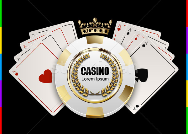 VIP poker luxury white and golden chip in golden crown with ace card vector casino logo concept Stock photo © Iaroslava