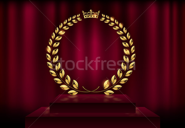 Detailed round golden laurel wreath crown award on velvet red curtain background and stage podium Stock photo © Iaroslava