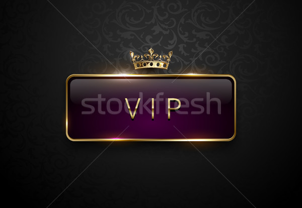 Vip royal purple label with golden frame and crown on black floral pattern background. Dark premium  Stock photo © Iaroslava