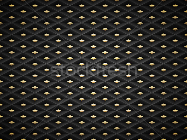 Vector black embossed pattern plastic grid background with golden insert element. Technology diamond Stock photo © Iaroslava