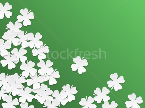 Yeşil gün yonca beyaz kâğıt kesmek Stok fotoğraf © Iaroslava