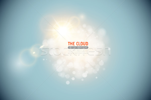 Vector sparkling cloud with shining lens flare light effect on blue sky background. Glowing center Stock photo © Iaroslava