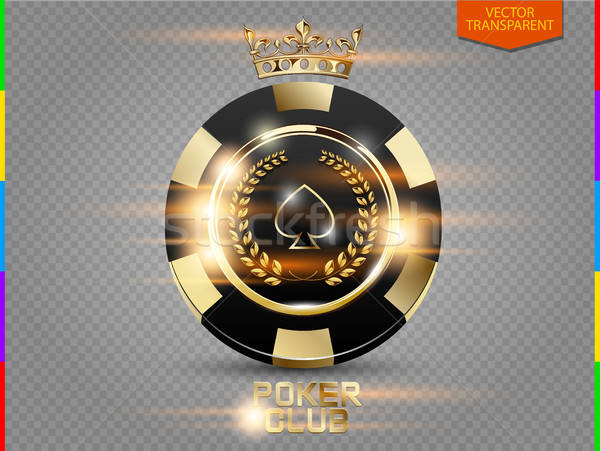 VIP poker black and golden chip with light effect vector. Royal poker club casino emblem with crown Stock photo © Iaroslava