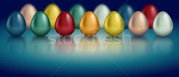 Glossy metallic egg set. Golden, silver, blue, red, green, red, orange, yellow, white color Stock photo © Iaroslava