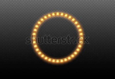 Gloeilamp cirkel lichten frame transparant verlicht Stockfoto © Iaroslava