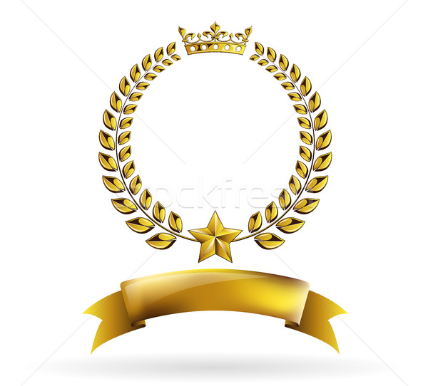 Vector round golden laurel wreath award frame isolated on white background. Stock photo © Iaroslava