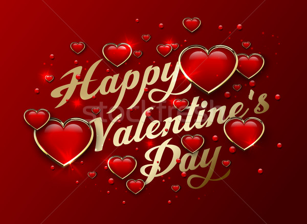 Happy Valentines Day golden lettering Greeting Card with glossy 3d heart and light effect Stock photo © Iaroslava