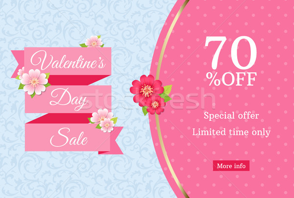 Stock photo: Valentines day sale web banner design template. Pink flat ribbon blue floral background. Polka dot