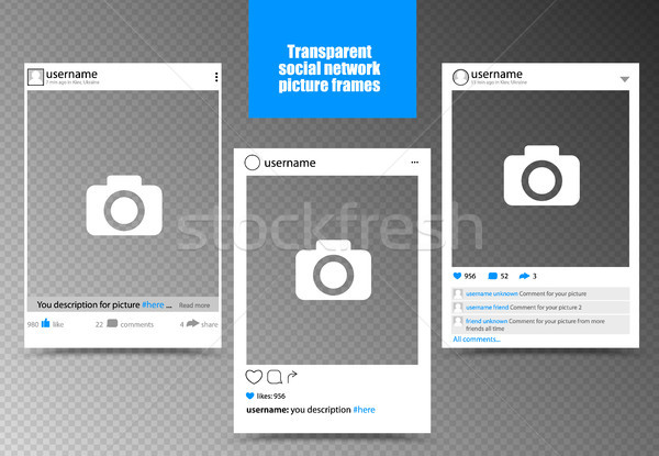 White photo frame for social network picture with transparent background. Isolated vector Stock photo © Iaroslava