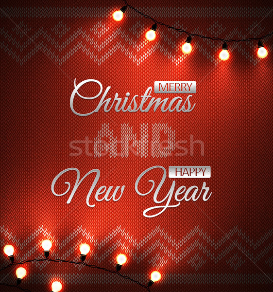Knit background with geometric ornament with metallic merry christmas and happy new year text Stock photo © Iaroslava