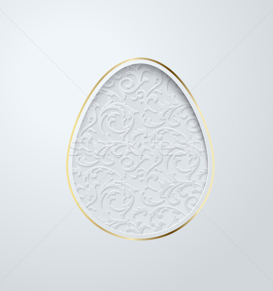 Easter greeting card with paper cut egg floral pattern. White background with golden elegant line Stock photo © Iaroslava