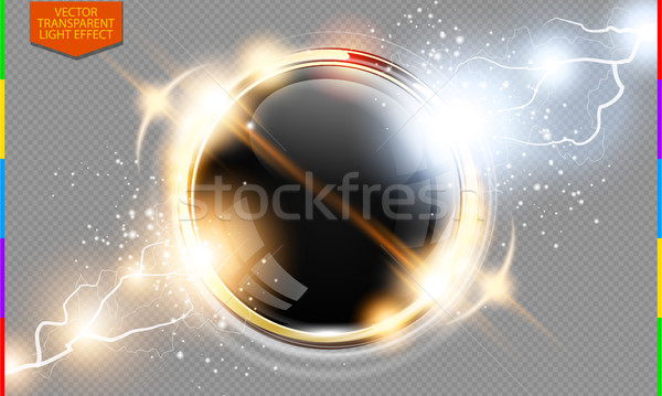 Abstract metal golden ring power science transparent background. Electric shine round tech frame Stock photo © Iaroslava