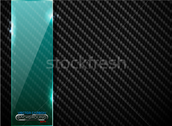 Vector black carbon fiber background with vertical green transparent glass plate banner. Industrial  Stock photo © Iaroslava