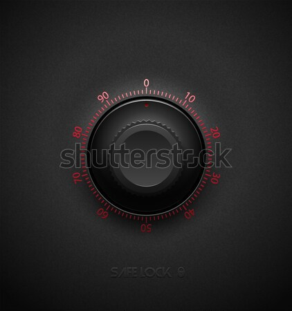 Realistic black combination safe lock volume element on textured plastic dark background. Red glossy Stock photo © Iaroslava