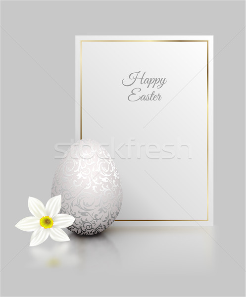 White color realistic egg with silver metallic floral pattern and Happy Easter card golden frame Stock photo © Iaroslava