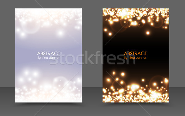 Abstract sparkling Christmas lights magic background set. Vector light and dark glow bright festive  Stock photo © Iaroslava