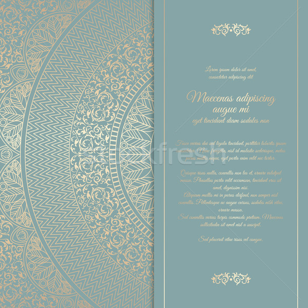 Beautiful floral square invitation card with golden round pattern add to lightbox download comp stopboris Gallery