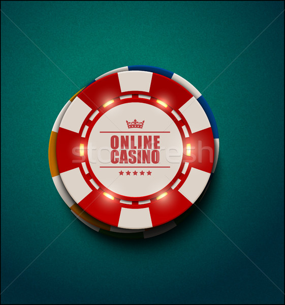 Vector casino poker chips with luminous light elements, top view. Blue green textured background Stock photo © Iaroslava