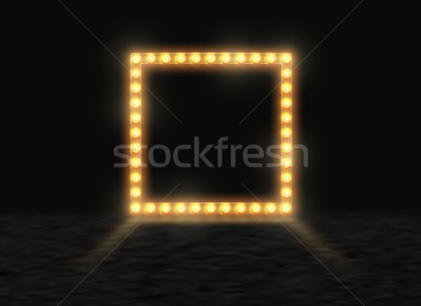Square frame with glowing shiny light bulbs, vector illustration. Shining party banner on black Stock photo © Iaroslava