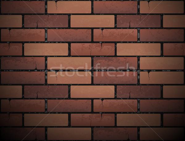 Red brick wall texture background. Vector illustration. Urban backdrop Stock photo © Iaroslava