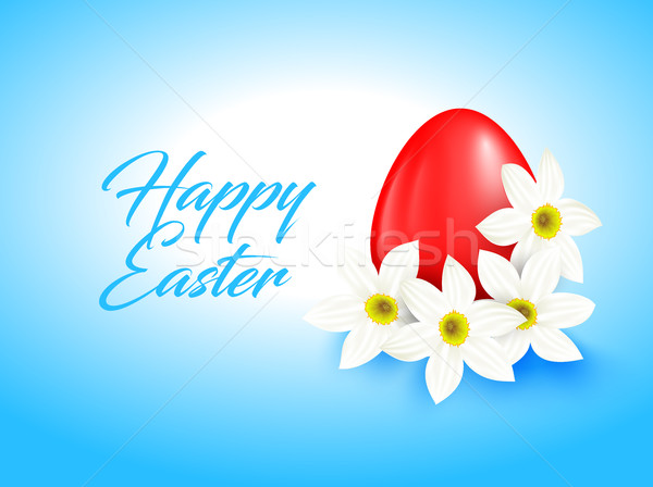 Stock photo: Red color egg and white narcissus flower on light blue. Bright greeting card with Happy Easter
