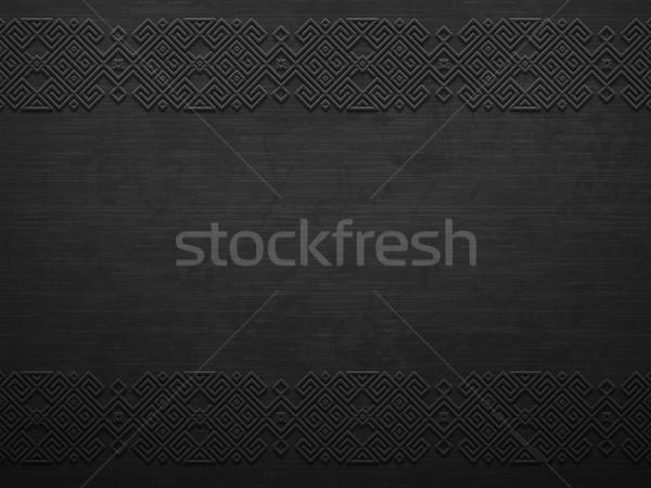 Vector grunge rough dark metal background with scandinavian pattern. Iron material brutal ethnic Stock photo © Iaroslava