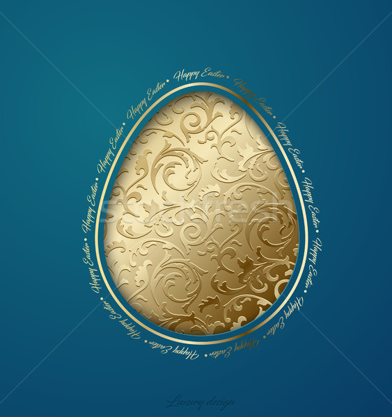 Easter greeting card with paper cut egg golden floral pattern. Turquoise background. Happy Easter Stock photo © Iaroslava