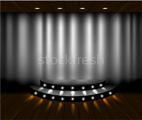 вектора серебро занавес этап сцена Сток-фото © Iaroslava