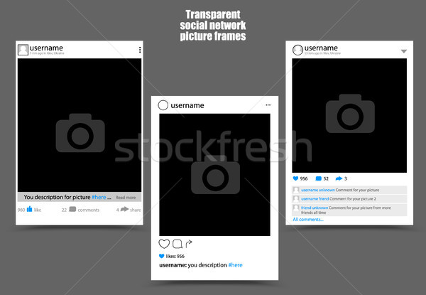 Photo frame for social network picture on dark background. Isolated vector illustration Stock photo © Iaroslava