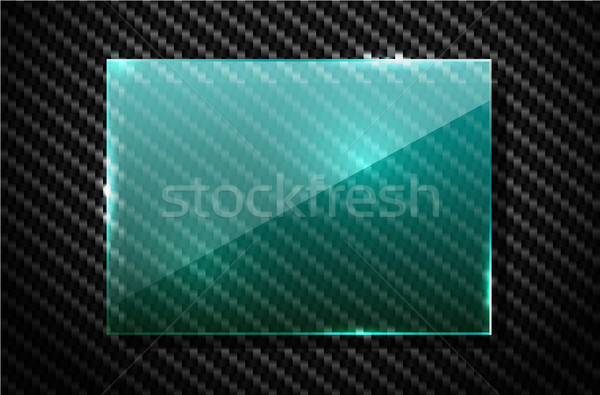 Vector black carbon fiber background with green transparent square glass plate industrial banner Stock photo © Iaroslava