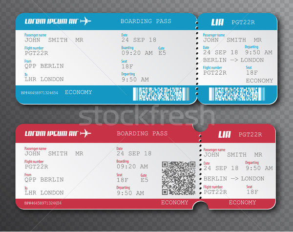 Airline boarding pass ticket tear-off element set, isolated on transparent background. Vector Stock photo © Iaroslava