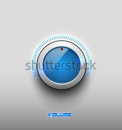 Technology music blue glow glossy button icon, volume settings, sound control vector knob with white Stock photo © Iaroslava