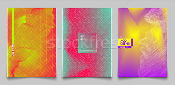 Cover design template set. Abstract fluorescent color and lines, modern gradient style background Stock photo © Iaroslava