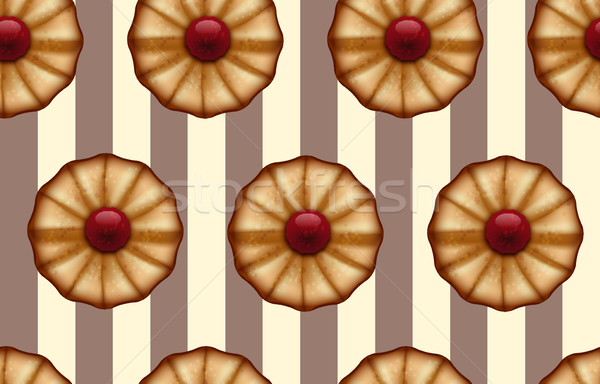 Buttery cookies with red jam on striped brown and beige, like a cocoa and vanilla color seamless Stock photo © Iaroslava