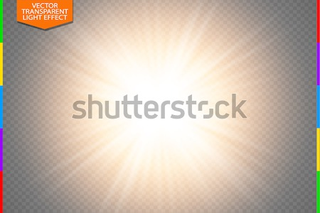 Golden glowing light burst explosion on transparent background. Vector illustration light effect Stock photo © Iaroslava