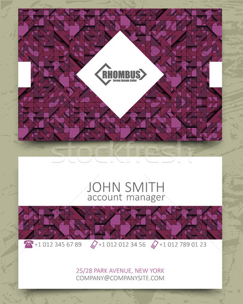 Violet triangles modern business card design template. White rhombus element with logo pink purple Stock photo © Iaroslava