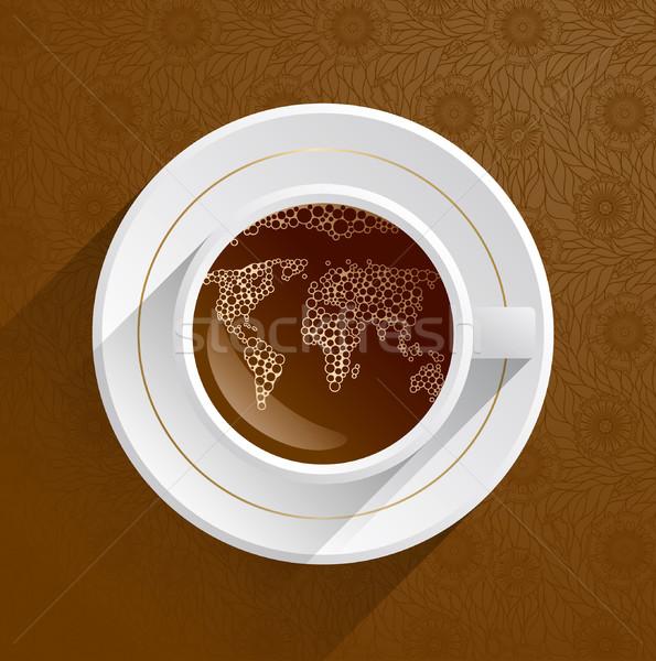 Koffiekopje wereldkaart voedsel restaurant web drinken Stockfoto © Iaroslava