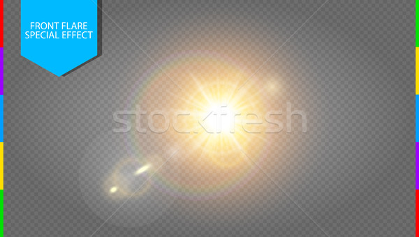 Vector transparent sunlight special lens flare light effect. Translucent sun flash with rays Stock photo © Iaroslava