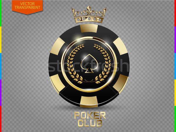 VIP poker black and golden chip vector. Royal poker club casino emblem with crown, laurel wreath Stock photo © Iaroslava