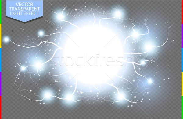 Stock photo: Blue abstract energy shock explosion special light effect with spark. Vector glow power lightning