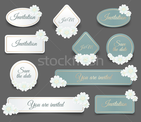 Realistic vector label shape with golden frame and white daisy add to lightbox download comp stopboris Image collections